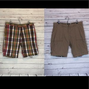 Other - Plaid and Khaki Reversible Shorts Cuff Legs